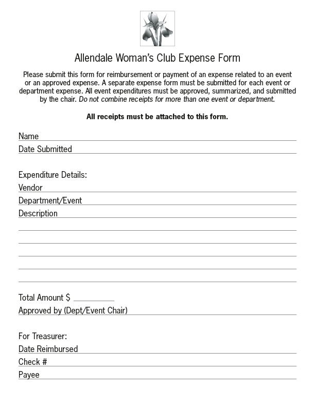 Awc Expense Form For Web  Allendale WomanS Club